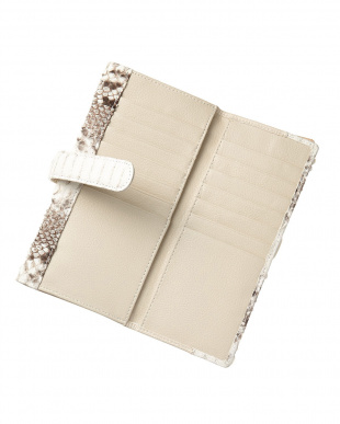 ナチュラル パイソン2段階フラップ長財布を見る