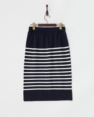 ネイビー×ホワイト USA Cotton Border Skirtを見る