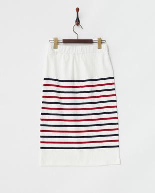 ホワイト×ネイビー×レッド USA Cotton Border Skirtを見る