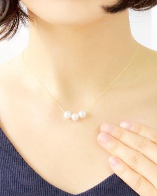 K18YG あこや本真珠 7~7.5mm 3玉スルーネックレスを見る