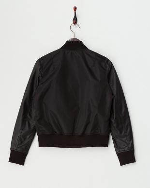 Black Lamb Leather Sleeve Blousonを見る