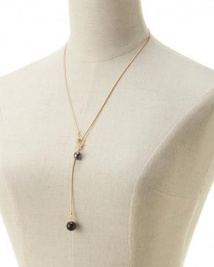 ゴールド/ブラック/クリスタル オニキスコンビブラックパール Yスタイルスネークチェーンネックレスを見る