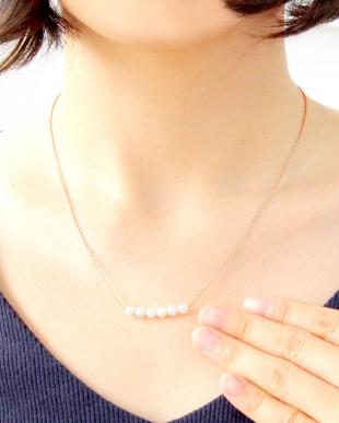 ピンクゴールドカラー あこや本真珠 ベビーパール 4.5mm 固定6Pラインネックレスを見る