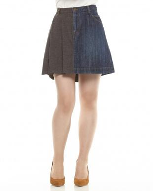 アオ×ブラウン ラセン 切り替えスカート WOMENを見る