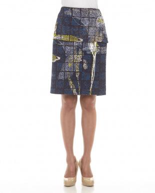 ブルー カモフラージュフラワー裏毛スカートを見る
