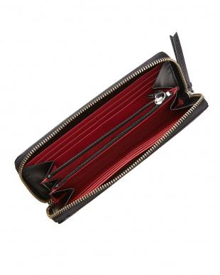 ブラック×レッド 型押しコンビ ラウンドファスナー長財布を見る