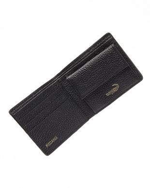 ブラック カイマンワニ革小銭入れ付きコンパクト財布を見る