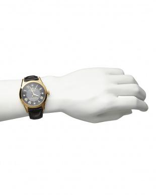 ゴールド/ブラック ダイヤ付き ソーラー電波腕時計 085|MENを見る