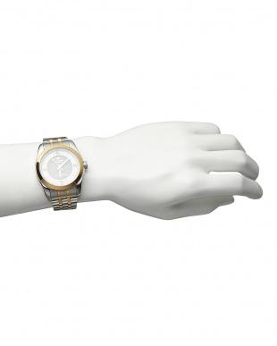 ゴールド/ホワイト ダイヤ付き ソーラー電波腕時計 096|MENを見る