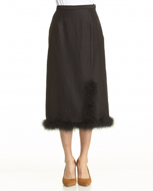 ブラック マラボースリットスカートを見る