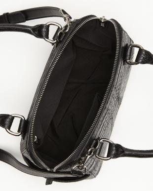 ブラック カイマンワニ革&牛革クロコ型押し 2WAYハンドバッグを見る