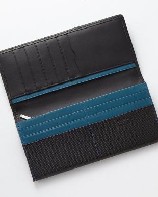 ブラック×ブルー 型押しコンビ かぶせ長財布を見る