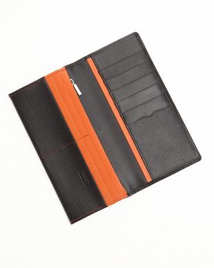 ブラック×オレンジ 型押しコンビ かぶせ長財布を見る