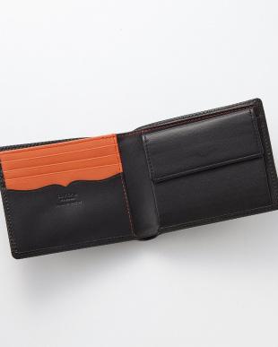 ブラック×オレンジ 型押しコンビ 二つ折り札入れを見る
