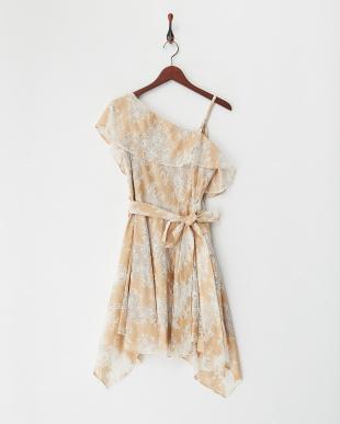ベージュ アシンメトリーレースドレスを見る