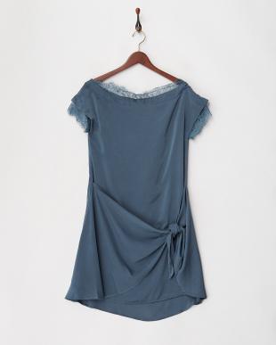 ブルー ラップライクサックドレスを見る