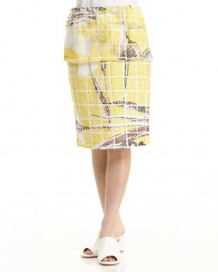 イエロー カモフラージュフラワー裏毛調スカートを見る
