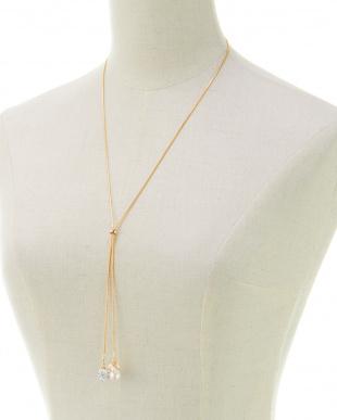 ゴールド/ホワイト/クリスタル パール+クリスタルボール スネークチェーン Yスタイルネックレスを見る
