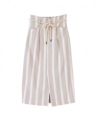 ベージュ ストライプタイトスカートを見る