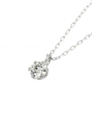 Pt 天然ダイヤモンド 0.1ct VVSクラス 6本爪ネックレス・あずきチェーンを見る