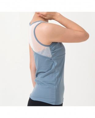 blue gray open back mesh topを見る