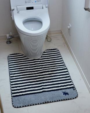 ネイビー タフトトイレマット 80×60cmを見る