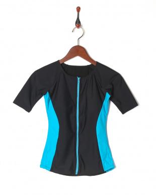 ブラック(ブルーライン) 帽子付きフィットネス補正水着 ライン 半袖タイプを見る