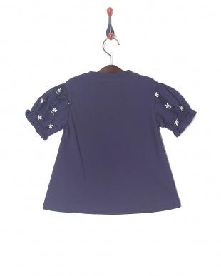 ネイビーブルー 袖刺繍半袖Tシャツを見る