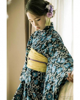 市松藍花×中黄 京都発 こだわり浴衣セット [浴衣・帯]を見る