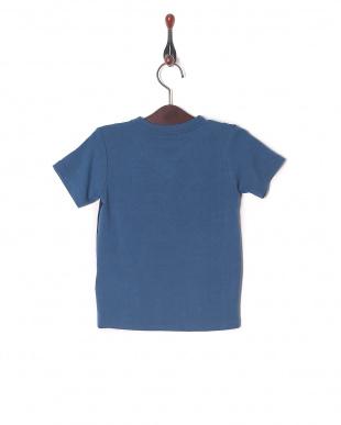 ブルー 配色切替VネックネックTシャツを見る