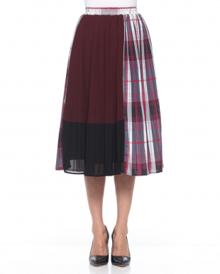 ブラック 無地×チェック切り替えプリーツスカートを見る