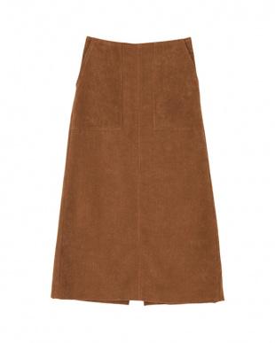 ブラウン コーデュロイAラインスカートを見る