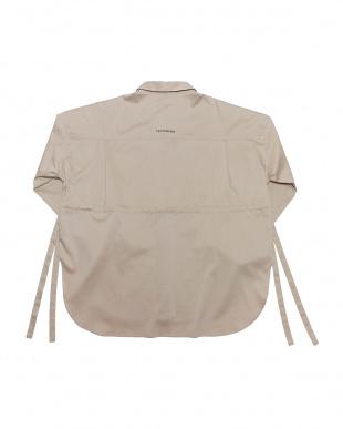 ベージュ BIG SILHOUETTE SIDE RIBBON SHIRTビッグシルエット サイドリボン 長袖シャツを見る