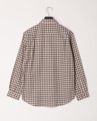 モスグリーン テンセル混チェック2WAYカラーシャツを見る
