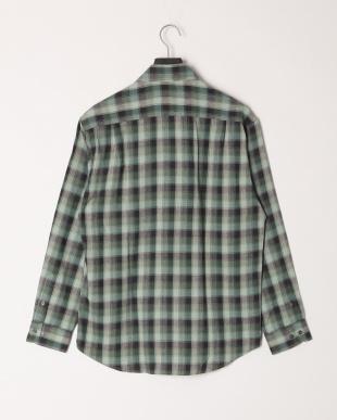 モスグリーン ロンウェーブスペックチェック柄BDシャツを見る