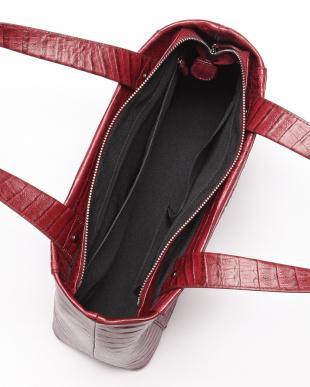 ワイン カイマンワニ革&牛革クロコ型押しハンドバッグを見る