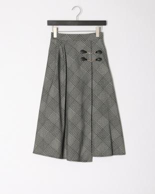 ブラック グレンチェックフロッキーptスカートを見る
