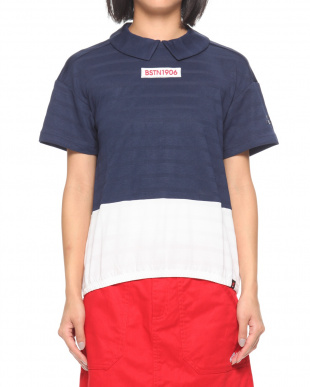 100 W 裾配色ボックスロゴ刺繍半袖丸衿シャツ/MTを見る