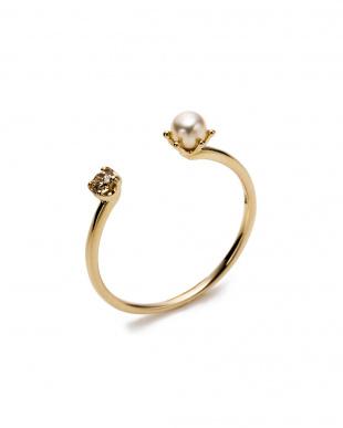 イエローゴールド K10YG×ダイヤモンド×パール デザインリングを見る