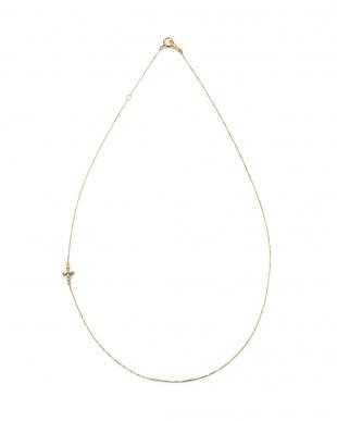 イエローゴールド K10YG×ダイヤモンド クロスモチーフ ネックレスを見る