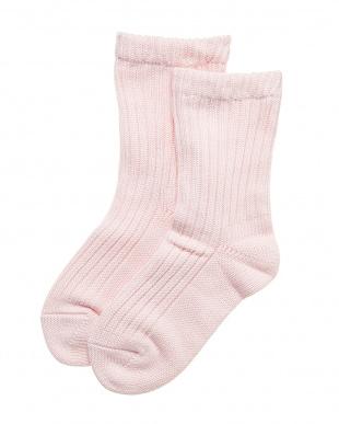 ピンク 表側コットン肌側シルクの2重編みソックス 2足セットを見る