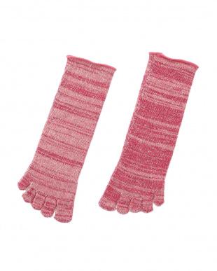 ピンク 肌側シルクパイルのふんわり5本指ソックス 2足セットを見る