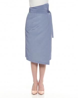 ブルー ラップベルテッドスカートを見る