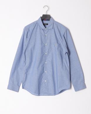 ブルーA ハイブリッドリネンミックスシャツを見る