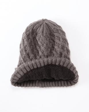 ネイビー 極暖あったかニットおしゃれ帽を見る