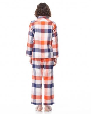 オレンジ 19ネルブロックチェックパジャマを見る
