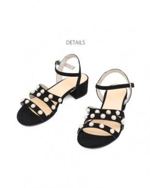ブラック [HELIA]01-pearl strap chunky sandalsを見る