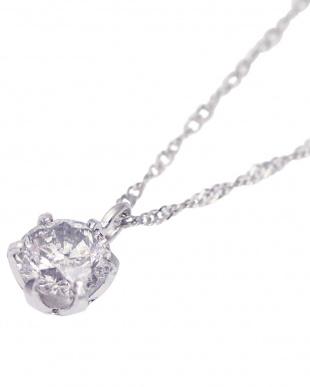 Pt900/Pt850 PT 天然ダイヤモンド 0.3ct 厳選 6本爪ネックレス Pt850スクリューチェーン40cmを見る