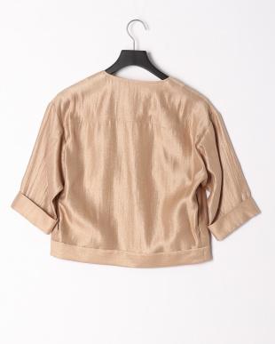 ピンクベージュ シャイニー素材Vネックジャケットを見る