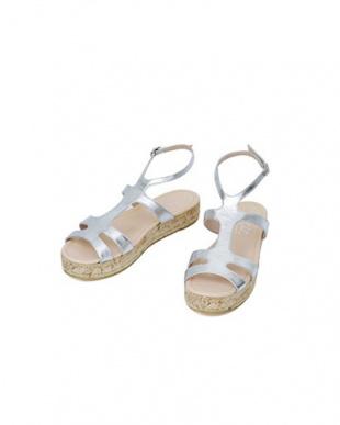シルバー 「tredi Chic」02-platform sandals/metallicを見る